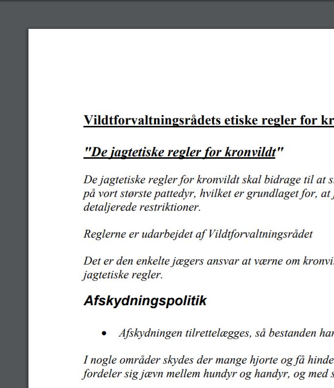 Vildtforvaltningsrådets etiske regler for kronvildtjagt